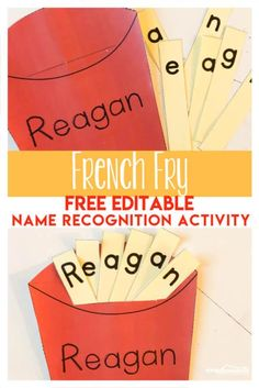 FREE French Fry Name Recognition Activity – this free printable activity helps preschool and kindergarten age kids learn their name while having fun! - Kids education and learning acts Name Writing Activities, Name Activities Preschool, Name Writing Practice, Preschool Writing, Preschool Letters, Preschool Name Crafts, Alphabet Crafts, Kids Writing, Toddler Preschool
