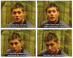 Jensen's always had a way with the ladies. lol I love this it is so adorable. It was just a natural reaction to grab her and kiss her that is just hilarious and adorable.