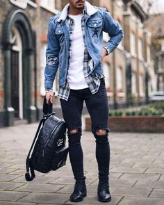 23 denim jacket outfits you& love - Tess Kaiser -.- 23 Jeansjacke-Outfits, die Sie lieben werden – Tess Kaiser – 23 denim jacket outfits you& love – Tess Kaiser – - Mode Masculine, Mode Swag, Herren Outfit, Mens Clothing Styles, Apparel Clothing, Rapper Clothing, Boutique Clothing, Clothing Ideas, Streetwear Clothing