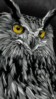 """Owl"" by Dani Blázquez Animal Drawings, Art Drawings, Wallpapers Ipad, Posca Art, Belle Photo, Vector Art, Art Reference, Fantasy Art, Cool Art"