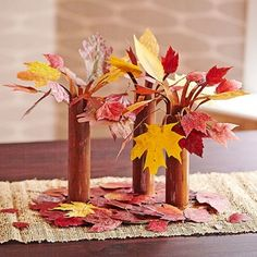 Bring the outside in by planting a deciduous forest (with real leaves!) right on your dining room table.                  Press a few dozen colorful leaves between the pages of a heavy book for a week or so to preserve them.  For each tree, paint a cardboard paper towel tube to look like tree bark. Paint the top several inches inside of one end, too. Let it dry.  For branches, cut several 1/4-inch-wide strips down into the painted end of the tube. Trim the ends of a few of them to make…