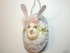 Ester Easter Bunny/Egg Ornament  OOAK by MountainDolls on Etsy, $12.00