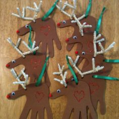 """""""hand made"""" reindeer make great gift tags for chritmas presents"""