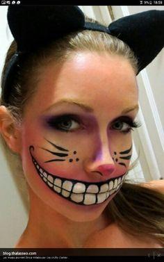 Maquillage halloween monstre ( chat dans alice aux pays des merveilles )