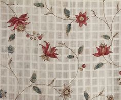 Cotton fabric used in a robe a l'anglaise c1770-80 Sheer white cotton dimity printed with a repeat pattern of sunny floral sprays. Antique Clothing at Vintage Textile: #2810