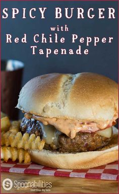 Spicy Burger with Red Chile Pepper Tapenade. This burger recipe is made with lean ground beef and panko bread crumbs (Japanese-style). There's a hint of heat at the finish which will never overwhelm the palate from chile Red Pepper Tapenade. This recipe is easy, simple and with tons of flavor. Spoonabilities.com