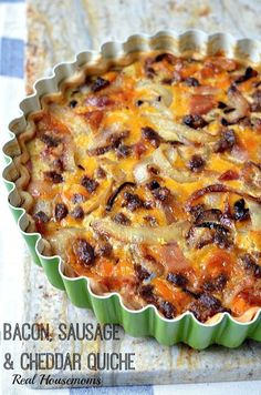 Bacon Sausage And Cheddar Quiche.Bacon, Sausage and Cheddar Quiche Is The Perfect Breakfast For A Lazy Weekend At Home, Entertaining Guests Or A Make Ahead Breakfast For Busy Week Day Mornings _Real Housemoms Breakfast Quiche, What's For Breakfast, Breakfast Items, Perfect Breakfast, Breakfast Dishes, Breakfast Recipes, Bacon Breakfast, Breakfast Potatoes, Breakfast Healthy