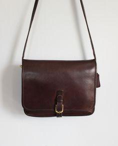 1980s dark brown coach shoulder bag