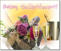 Boldog szuletesnapot Wine Bottle Images, Name Day, Glass Vase, Happy Birthday, Table Decorations, Home Decor, Happy Brithday, Decoration Home, Room Decor