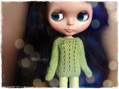 BLYTHE Sweater, Jumper, Pure Neemo, Licca, Takara, Pullip, Dal - Knitted Green Patterned Sweater With Beads #27 by MPdollWorld on Etsy