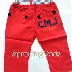 BN Korean style red CMJ bermuda with elastic waistband. CMJ is printed on a back pocket. (Sizes:120,130,140,150)