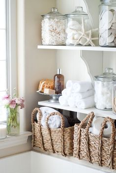 These DIY bathroom linen shelves are practical and very attractive. (And we're pleased to point out that the wood shelf brackets came from The Home Depot.) Kristen Whitby takes you through this beach-themed bathroom upgrade, including adding beadboard and these DIY shelves... on her blog, Ella Claire. || @Kristen Whitby | EllaClaireInspired.com