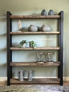 Beautiful cupboards made to measure! Made from robust weathered wood. Thickness boards between. Rustic Home Design, Modern House Design, Interior Design Living Room, Living Room Designs, Weathered Wood, Wood Shelves, Shelving, Home Decor Furniture, Industrial Furniture