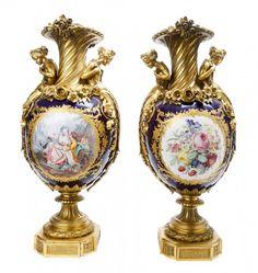 A Pair of Sevres Style Cobalt Painted Porcelain Gilt : Lot 40