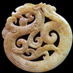 Exquisite Carved Chinese Old Jade Dragon Pendant