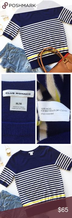"- CLUB MONACO - 100% Wool Striped Sweater Tee When it comes to basics, this easy piece goes beyond the call of casual duty. When a basic tee won't do, this 100% wool tee is the perfect upgrade.  Keep things casual with ripped jeans and white sneakers or class it up with statement jewelry and heels. Excellent pre-loved condition, no flaws. Approx. measurements: Bust 17"" & Length 23.5"" 🛍Bundle & Save 20% on 2+ items! 🙅🏼No trades / selling off of Posh.  🌟Offers always welcome!🌟 Club Monaco…"