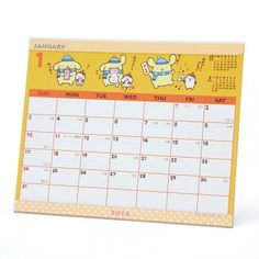 2016 Pom Pom Purin Desk Calendar Plan Simple-Type