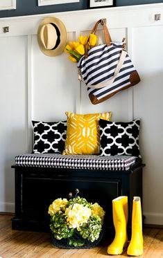 56 Incredible Yellow Aesthetic Room Decor Ideas - Based on what mood you need to create in your bathroom, you can opt for colors related to it. Whether there are one or two steps in the restroom, then. by Joey Yellow Home Decor, Yellow Interior, Spring Home Decor, Vestibule, Home Office Decor, Diy Home Decor, Yellow Cottage, Interior Decorating, Interior Design