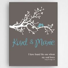 Personalized Wedding Canvas - Song of Songs - Tree Branch - Birds - Sweet Wedding Gift - Couples Canvas - Home Decor - Newlyweds - Easy Canvas Painting, Diy Painting, Watercolor Paintings, Personalized Wall Art, Personalized Wedding Gifts, Love Canvas, Canvas Prints, Wedding Games For Kids, Wedding Canvas