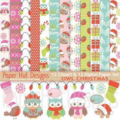 Christmas Owl Digital Papers-Christmas by PaperHutDesigns on Etsy