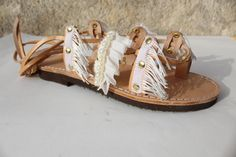 White Pearls Sandals Leather Sandals Wedding Shoes by EATHINI