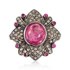 From India, this fiery ruby and pave natural diamond ring makes a fabulous statement!