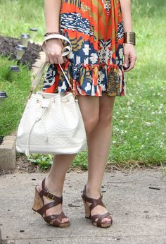 Thrift and Shout blog, Cute Outfit of the Day, Goodwill, Volunteers of America, Ciao Bella wedge sandals from DSW, Target tribal print dress