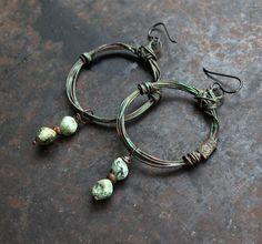 Spiral earrings copper earrings rustic symbol earrings by solekoru