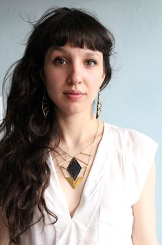 Lace necklace  Vendetta  Black or white with brass by thisilk, $68.00