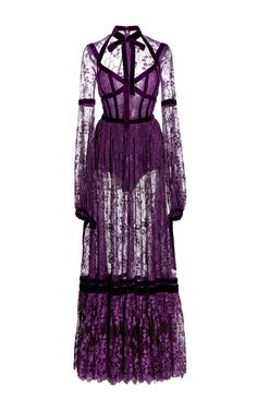 This **Elie Saab** lace dress features a necktie, full length sleeves, and a gathered full length skirt. Long Sleeve Lace Gown, Purple Long Sleeve Dress, Long Sleeve Evening Dresses, Lace Dress, Dress Long, Ruched Dress, Purple Dress, Sleeve Dresses, Cl Fashion