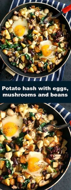 Potato hash with eggs, mushrooms and beans, a hearty and delicious breakfast or brunch.