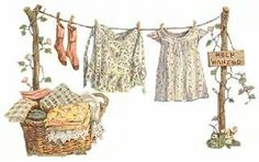 'That laundry is not very clean', she said. 'She doesn't know how to wash correctly. Perhaps she needs better laundry soap.' Her husband looked on, but remained silent. Laundry Lines, Laundry Art, Laundry Sorter, Laundry Rooms, Image Clipart, Art Clipart, Images Vintage, Vintage Art, Vintage Laundry