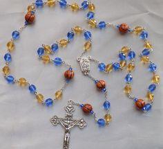 Basketball Rosary - Czech Blue & Gold Glass Beads - Ceramic Basketballs - Water from the Fatima Center - Italian Crucifix - Rosary