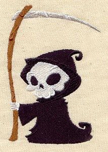 Little  Grim Reaper Embroidered Flour Sack Hand Towel Set of Two  $30