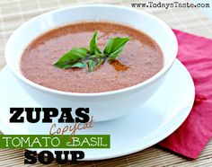 Looking for a new soup recipe? Zupas Copycat Tomato Basil Soup is one of my favorites! From www.todaystaste.com #soup #tomato #basil #zupas