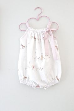 Baby Girl Romper-Megumi Illastration Fabric and Pink Stripe Onsie-Japanese Cotton Baby One Piece-Handmade Children Clothing by Chasing Mini.