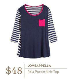 Stitch Fix August 2016 - Loveappella, Pola Pocket Knit top Navy and white stripes with pop of color pink pocket, feminine nautical