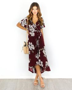 8/5/16: This item will ship from our Warehouse Beginning of Next Week! Be One With Nature in this dress! The gorgeous wine hue with…