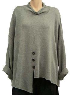 Asymmetrical lagenlook jumper Ronda sage - Artikeldetailansicht - CLASSYDRESS Lagenlook Art to Wear Women's Clothing