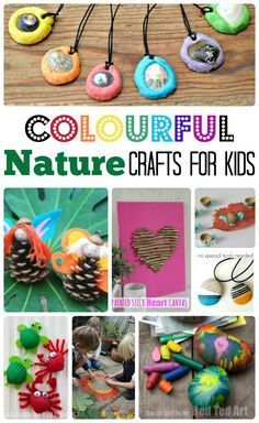 and EASY Nature Crafts for Kids - this is a great way to explore nature, gather wonderful craft material and get creative!Colourful and EASY Nature Crafts for Kids - this is a great way to explore nature, gather wonderful craft material and get creative! Easy Crafts For Kids, Summer Crafts, Toddler Crafts, Creative Crafts, Projects For Kids, Fun Crafts, Art For Kids, Craft Projects, Arts And Crafts