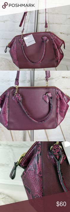 """Liz Claiborne Wine Red Snakeskin Casey Satchel ABOUT ◐ Features adjustable or removable straps, accessory pocket, cell phone pocket. Four pockets total. Inside is fully lined. ◐ Item is New with Tags; great condition! Originally retails for $75.00. ◐ Country of Manufacture: Imported.  MATERIALS ◐ Outside: 100% Polyurethane ◐ Inner Lining: Synthetic Materials  MEASUREMENTS ◐ Bag Length: 16"""" ◐ Drop Length: 22"""" ◐ Bag Depth: 10"""" ◐ Bag Height: 10.5"""" Liz Claiborne Bags Satchels"""