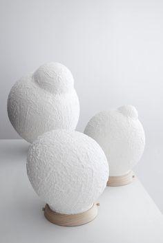 Lamp made of paper pulp, Bulles de savon by Papier a Etres