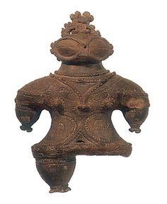 "Japanese Wonder ceramic figurine ""DOGU"".   B.C.1000 - 400.   This figurine was unearthed on Kamegaoka Tugarusi Aomori Japan."