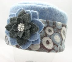 Items similar to Partly Cloudy with a Chance of Snow - Pillbox Style Hat from Upcycled Wool Sweaters on Etsy WOOL FELT Sweater Mittens, Wool Sweaters, Pullover Upcycling, Sewing Crafts, Sewing Projects, Diy Projects, Fleece Projects, Fleece Hats, Wool Hats