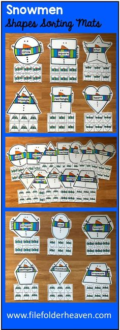 These Snowman Shapes Sorting Mats include 12 unique sorting mats that focus on sorting snowmen by shapes. In a center or independent work station, students snowmen shapes into the snowman mat that is the same shape. Shape mats included are: circle square triangle rectangle oval heart star rhombus trapezoid pentagon hexagon octagon