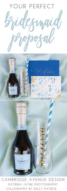 Bridesmaid Proposal Inspiration! Looking for a simply and affordable way to propose to your bridesmaids? Pair our personalized champagne flutes with a mini bottle of champagne.  Add a sweet, personalized card and you're done! #willyoubemybridesmaid #bridesmaidproposal