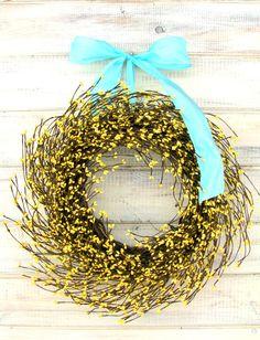 SUNNY YELLOW DOOR Wreath-Yellow Berry Wreath-Spring Door Wreath-Weddings-Rustic Home Decor-Scented Pina Colada-Custom Choose Scent & Ribbon