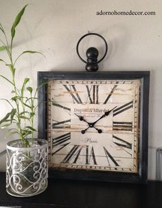 Large Metal Square Wall Clock Paris Rustic Decor Industrial Vintage Antique | eBay