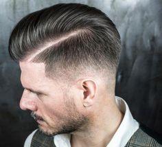 coupe de cheveux homme dégradé avec trait barbe-courte