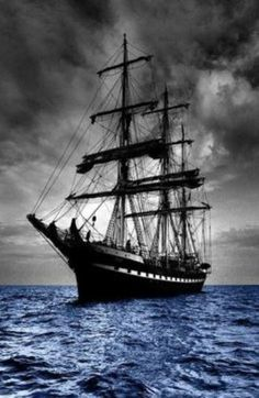 The ship and sky are black and white while the ocean has a blue overlay. Or the photo was originally color and the ship and sky were layered black and white. It is a striking effect, though I might have upped the contrast on the ship. Tall Ships, Moby Dick, Bateau Pirate, Old Sailing Ships, Ocean Sailing, Black Sails, Sail Away, Set Sail, Water Crafts